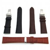 Mens Watch Strap Leather Band With Fitted Deployment Clasp